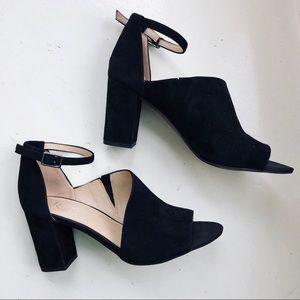Franco Sarto | Black Suede Ankle Strap Block Heels